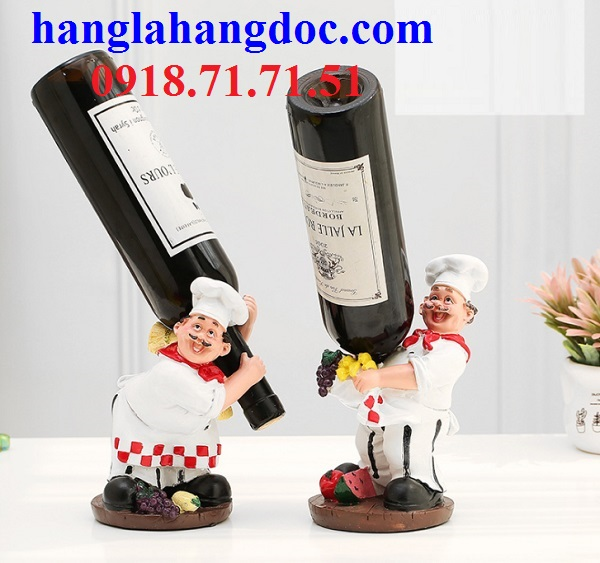 Tượng đầu bếp để rượu nguyên bộ phong cách Bistro Pháp độc đáo